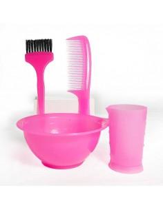 Kit Rosa per la tinta dei capelli che contiene ciotola, misurino, pettine e pennello.