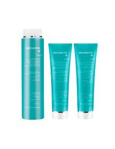Kit solari Medavita Solarich shampoo-doccia + maschera + latte doposole.